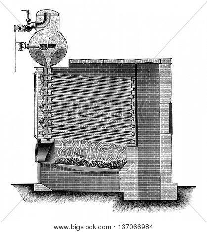 Boiler Niclausse, vintage engraved illustration. Industrial encyclopedia E.-O. Lami - 1875.