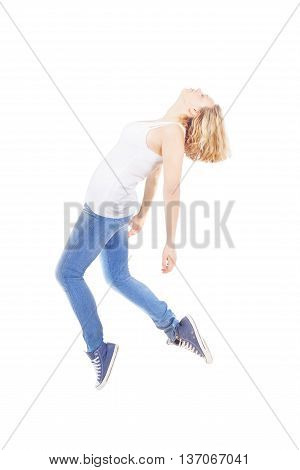 Young beautiful woman floating on white background