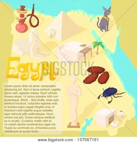 Design Egypt map travel and landmark concept vector illustration