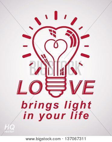 Vector retro illumination conceptual icon love theme emblem. Electricity light bulb symbol isolated on white background. Romantic idea design element.