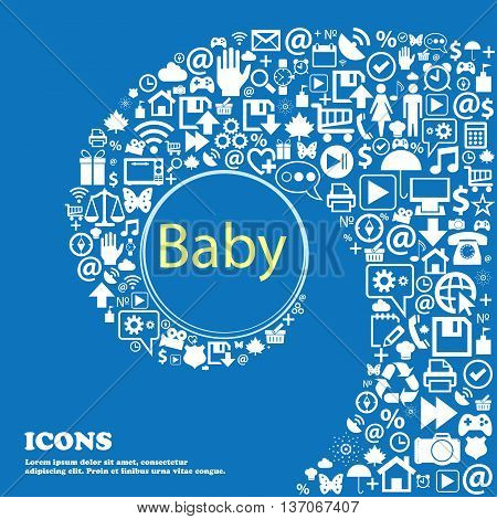 Baby On Board Sign Icon. Infant In Car Caution Symbol. Baby-pacifier Nipple . Nice Set Of Beautiful