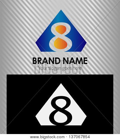 Abstract eight, icons, number 8 logo template design vector