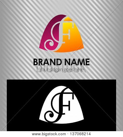 Abstract Letter f Icon logo template design vector