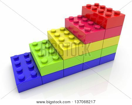 Toy bricks in various colors on white . 3D illustration