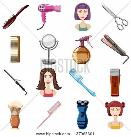 Hairdresser icons set in cartoon style isolated vector illustration