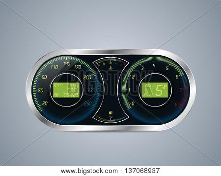 Shiny metallic speedometer and rev counter design
