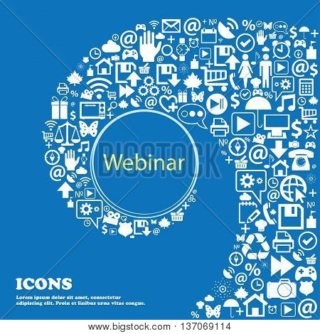 Webinar Web Camera Sign Icon. Online Web-study Symbol . Nice Set Of Beautiful Icons Twisted Spiral I