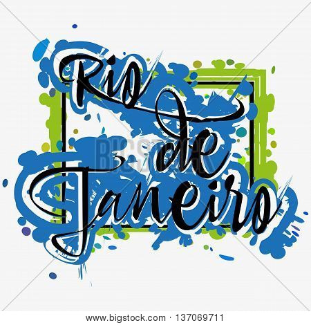 Print with lettering about Rio de Janeiro and green blue paint splashes on grey background. Pattern for fabric textiles clothing shirts t-shirts. Vector illustration