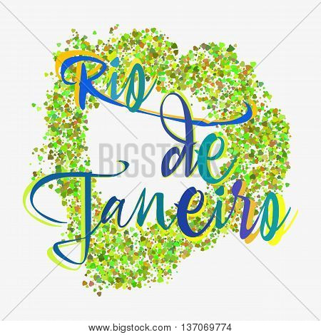 Print with lettering about Rio de Janeiro and green glitter in shape of heart on grey background. Pattern for fabric textiles clothing shirts in colors of Brazilian flag. Vector illustration
