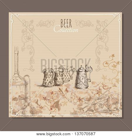 Menu card for beer with hand drawn sketches of beer glasses and bags with malt. Vector illustration.