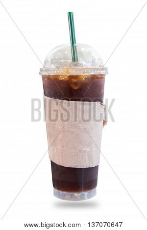 Iced coffee in takeaway cup isolated on white background.