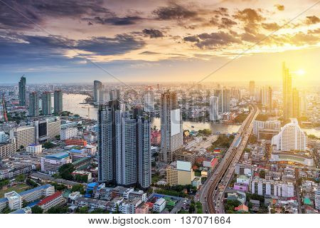 Sunset scene of Bangkok City of Thailand Twilight scene of Bangkok City of Thailand Bangkok City destination of tourist.