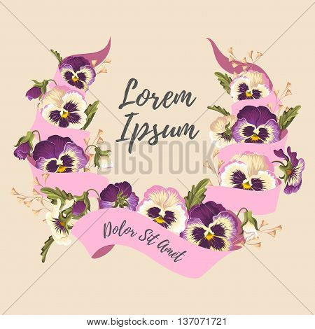 Vector illustration of pink ribbon and vintage pansies