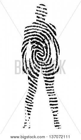 Fingerprint in the shape of man silhouette 3D Render