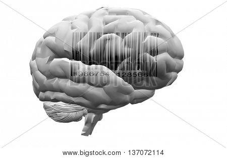 Barcode on brain 3D Render