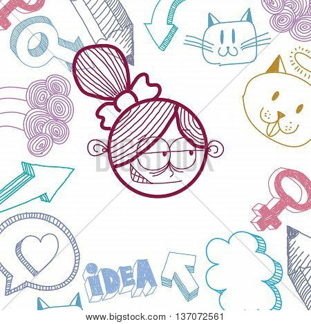 Vector colorful illustration of tricky cartoon girl isolated on special background with hand drawn design elements social interaction idea. Facial expressions on woman face.