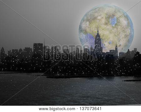 New York City Terraformed Luna Rise 3D Render
