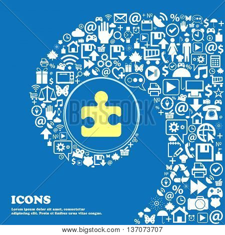 Puzzle Piece Sign Symbol. Nice Set Of Beautiful Icons Twisted Spiral Into The Center Of One Large Ic