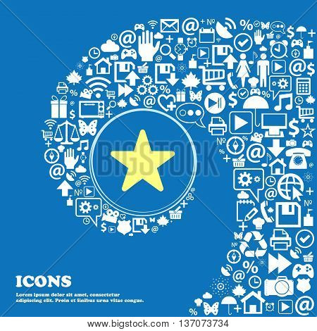 Favorite Star Sign Symbol. Nice Set Of Beautiful Icons Twisted Spiral Into The Center Of One Large I