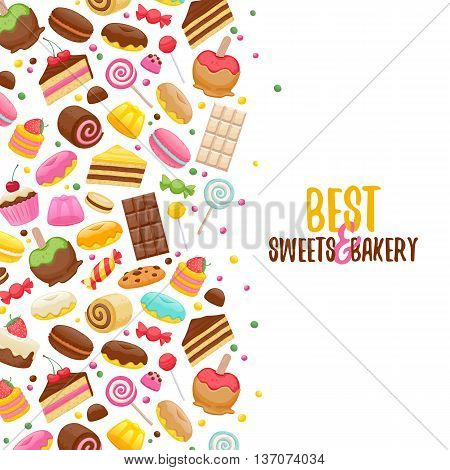 Assorted sweets colorful background. Lollipops, cake, macarons, chocolate bar, candies and donut. Good for poster cover menu card confectionery pastry-shop design.