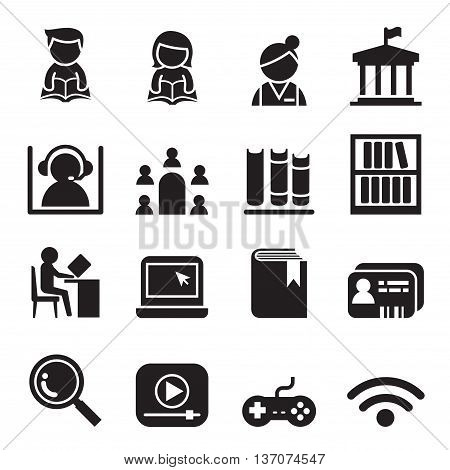 Library icon symbol set Vector illustration graphic design