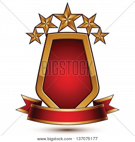 3d vector classic royal symbol sophisticated protection shield with golden star and red wavy stripe decorative emblem