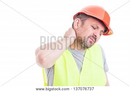 Portrait Of Tensed Young Constructor Feeling Exhausted