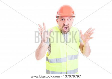 Scared Young Builder Screaming And Looking Terrified