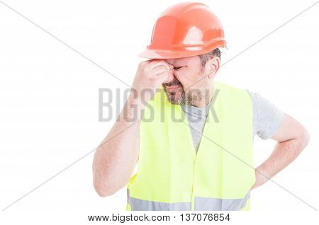 Portrait Of Male Constructor Forgot To Do Something