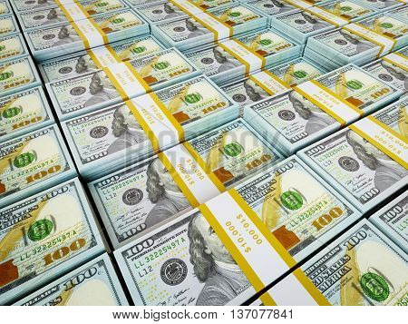3d rendering of finance wealth money concept - background of rows of US dollars bundles new 2013 edition