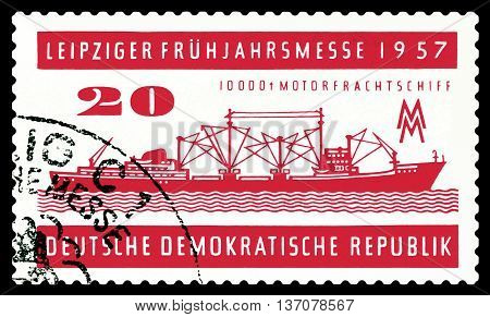 STAVROPOL RUSSIA - JUNE 24 2016: a stamp printed by Germany shows Freighter A 100 circa 1957