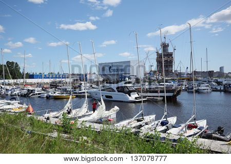 ST. PETERSBURG, RUSSIA - JUNE 4, 2016: Yachts and other boats in the yacht club Hercules in the day of the opening ceremony of the Nord Stream Race. Five teams compete in the race this year