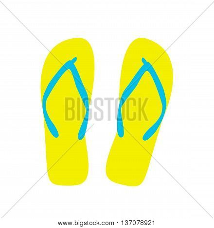 Pair of flip-flops. Vector illustration. yellow color