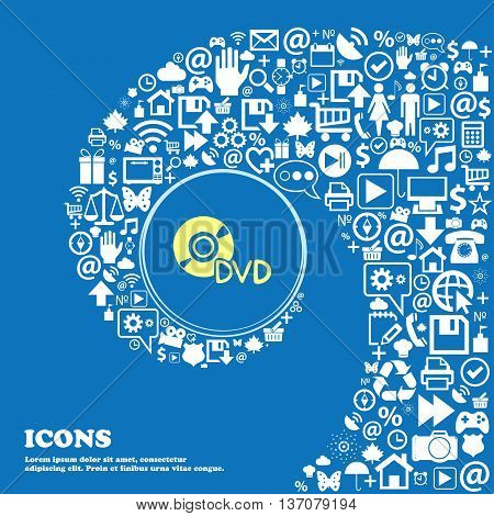 Dvd Sign Symbol. Nice Set Of Beautiful Icons Twisted Spiral Into The Center Of One Large Icon. Vecto