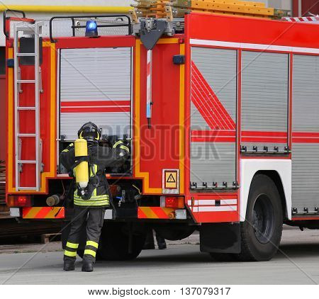 Firefighter During A Training Exercise With The Oxygen Cylinder