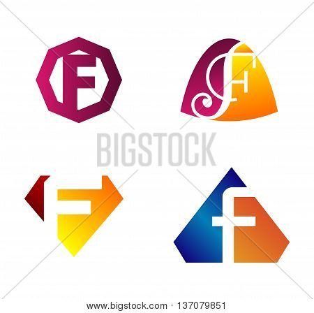 Abstract Letter f Icon Abstract Letter f Icon