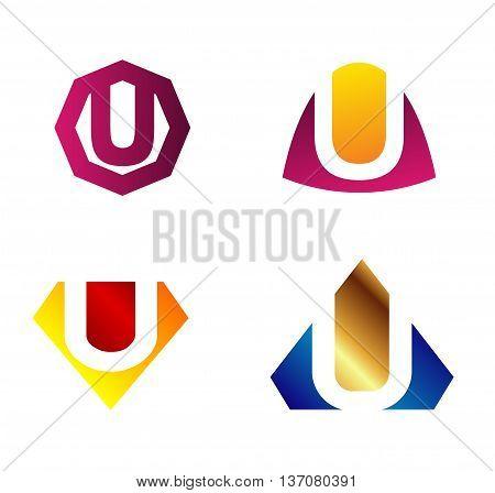 Letter u Alphabetical Logo Design Concepts template design vector