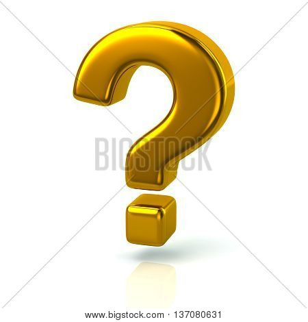 3D Illustration Of Golden Question Mark