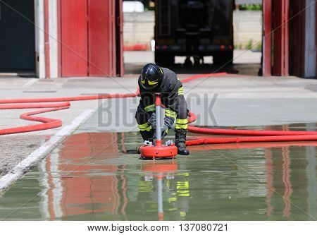 Firefighter Positions A Powerful Fire Hydrant