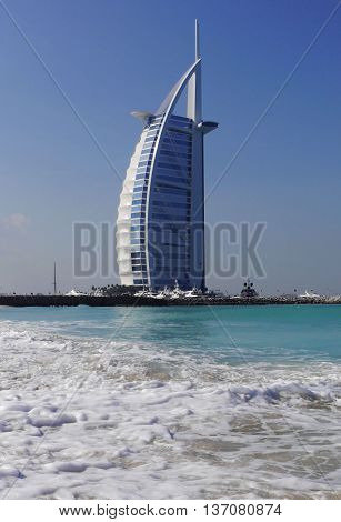 DUBAI, UNITED ARAB EMIRATES - January 16 2016 : Burj Al Arab, One of the most famous landmark of United Arab Emirates. Picture taken on January 16, 2016.