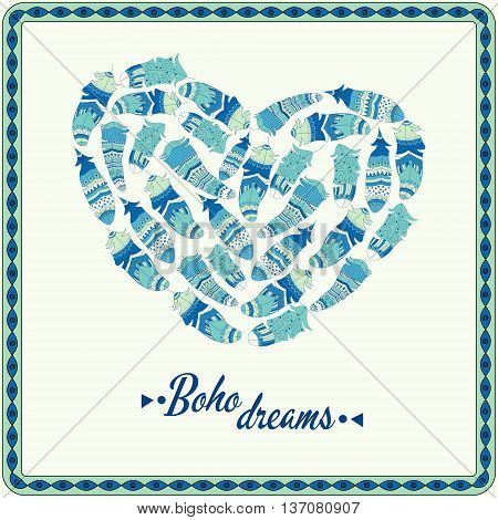 Bohemian Style Poster With Feathers, Arranged In Heart