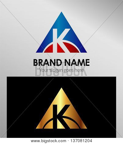 Abstract letter K in triangle shape template design vector