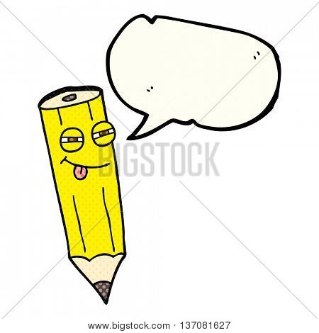 happy freehand drawn comic book speech bubble cartoon sly pencil