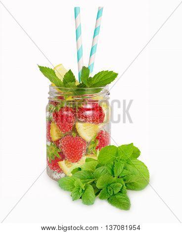 Strawberry lemonade with lemon slices. Homemade lemonade isolated on white background.