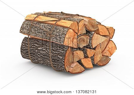 Firewood bunch stack dry chopped. 3D graphic