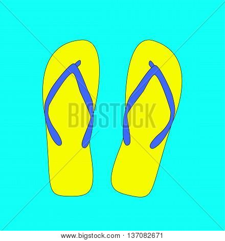 Pair of flip-flops. Vector illustration Yellow color