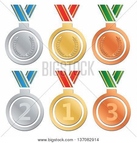 Set of gold medals silver medals and bronze medals eps10
