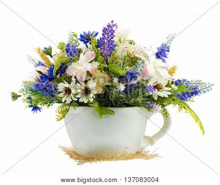 Table Floral Arrangement Made Of Artificial Flowers.
