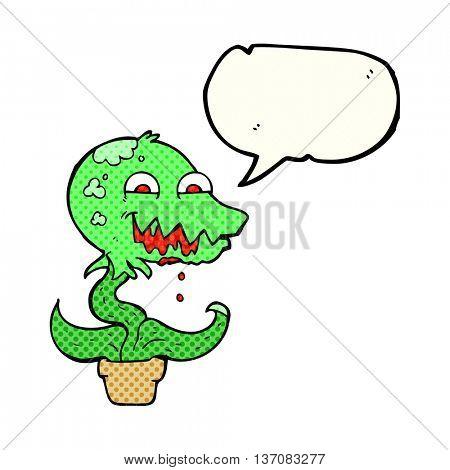 freehand drawn comic book speech bubble cartoon monster plant