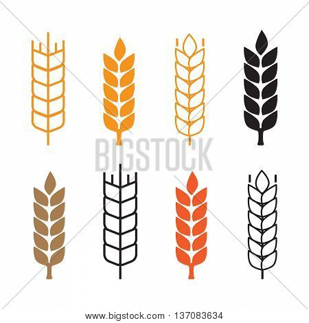 Set of simple wheat ears icons and wheat design elements eps10